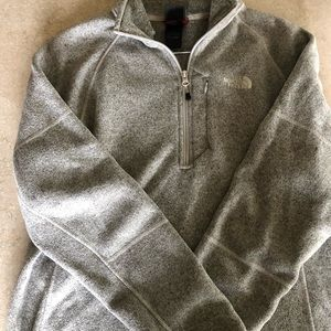 Gray North face men's/women sweater